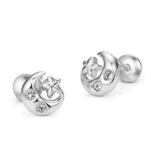Jewelry - Silver Moon Star Cubic Zirconia Screwback Earrings